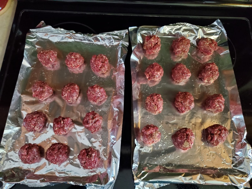 Bear meatballs on tinfoil and trays
